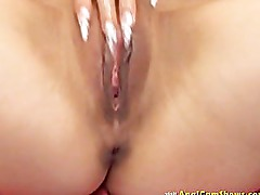 Russian blonde showing her pussy really close