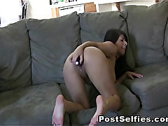 Gorgeous Layla Rose Shows Her Big Tits While Masturbating On A Couch