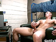 Muscled straight guy jerking his firm part4