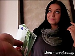 Cutie euro babe convinced to sucks and banged hard for cash