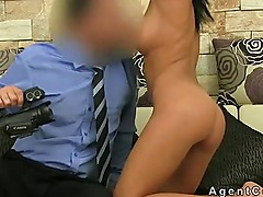 Busty tanned amateur anal fucking on casting