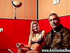 Blonde amsterdam whore sucks cock