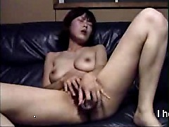 Horny Asian gf plays with bottle till orgasm
