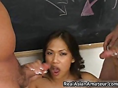 Slutty asian takes two dick in her mouth part6