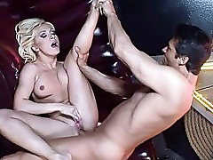 Amateur gorgeous blonde babe gets hard fucked and doing blowjob