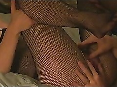 Amateur MILF in Fishnet Bodysuit gets fucked and cummed on!