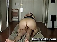 Thick white babe with huge booty rides cock