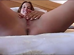 amateur brunette creampied by old guy
