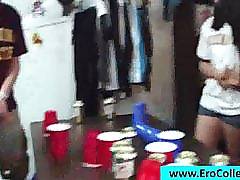 College girls drinking and stripping at a party