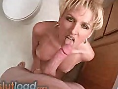 Blonde MILF hard cock sucking foot action