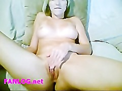 Girl home alone and playing with a dildo