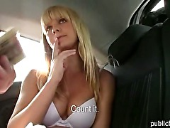 Big tits blonde amateur riding on cock at the cars backseat