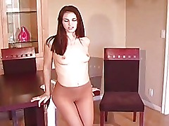 Teasing amateurs a bit babe takes off sexy tights