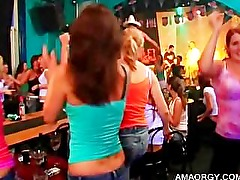 Teen girls enjoy striptease at orgy