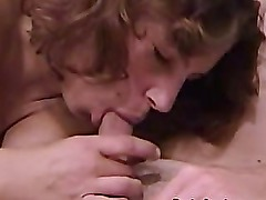 Busty brunette Serena giving her boyfriend awesome blowjob