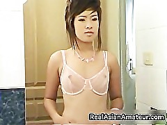 Asian girlfriend in pink see through part5