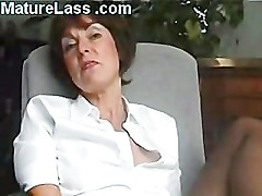 Sexy British Mature talks dirty and spreads legs to show pussy -