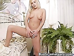 Blonde babe Misty fingering her pussy