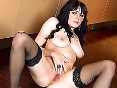 Fantastic dark haired slut Samantha Bentley enjoys wearing her favorite stockings on camera, cause that makes her horny for some nice masturbation.