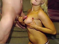 Little busty blonde lilly blow-job