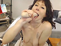 Nasty Slut GAGGING on Cam hottt!