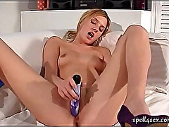 Hot babe touching her cunt with a dildo