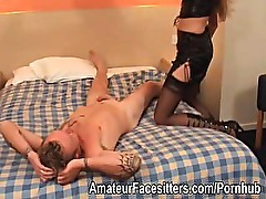 Mistress facesits a slave then fingers his ass
