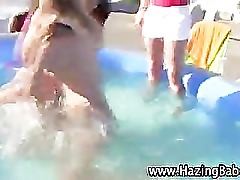 Naked sorority amateurs wrestling in water