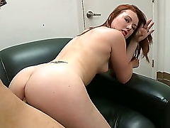 Provocative pale redhead amateur babe Cammie Fox with small natural boobs sucks stiff pecker and gets nailed hard on desk in the office during interview with experienced dirty stud
