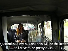 Hot hige tits brunette fucked in fake taxi