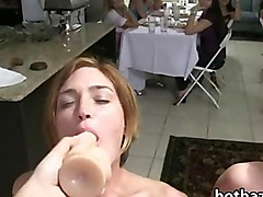 Bunch of amateur girls suck and fuck sextoys in a hazing session