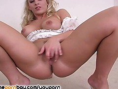 Hot busty amateur blonde babe jerking dick 1