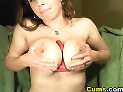 Busty Babe Plays her Unshaved Pussy