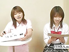 Japanese schoolgirls in a kinky foursome with subtitles