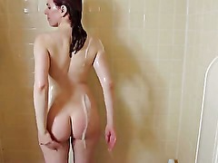 TS in a shower wanking her tool