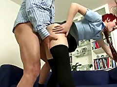 Older British guy fucks girl in schoolgirl outfit