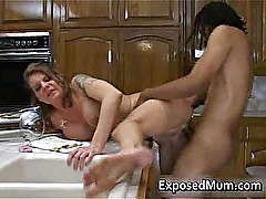 Beautiful busty mother plays