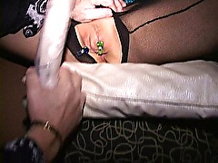 Big clit cougar Eva cums with clips on her cunt lips
