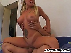 Very busty girlfriend sucks and fucks with cum on tits