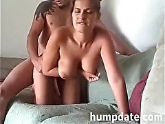 Busty girlfriend gets doggystyled and jizzed