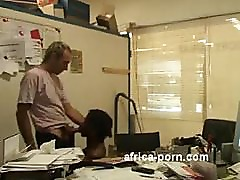 Amateur black babe Lola takes her boss dick in office