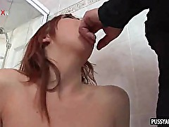 Redhead babe gets her pussy puffed and ass fucked