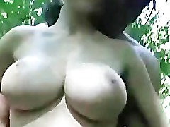 Busty brunette SF TF Facial Outdoors