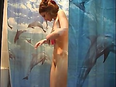 Redhead teen in the shower