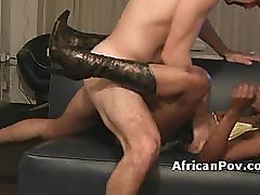 Hot amateur African babe Alina fucked by white Bf on homemade