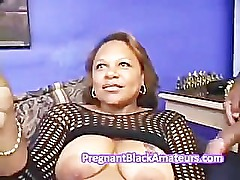 Pregnant black fat bitch gives blowjob and dildo fuck