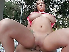Huge tits amateur cock riding outdoor