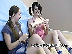 teen girls try blowjob on dildo and then a milf shows how to suck