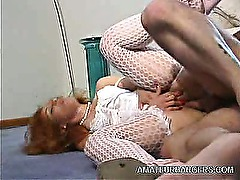 Stocking Amateur Spreads Wide for a Cock