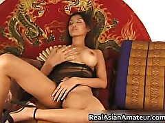 Big boobs asian stunner dildoing hairy part2